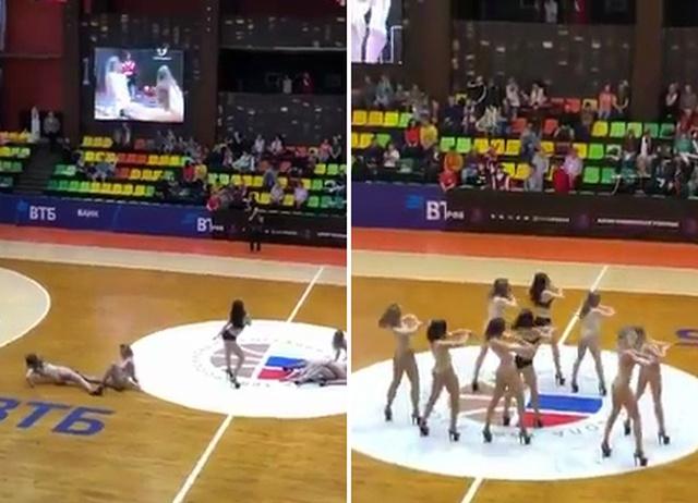 Откровенные танцы в нижнем белье на матче финала баскетбольной Суперлиги (3 фото + видео)