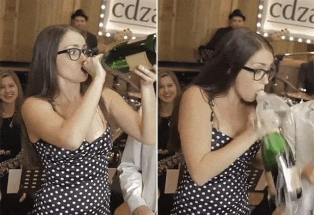 Девушки открывают и пьют алкоголь (16 гифок)