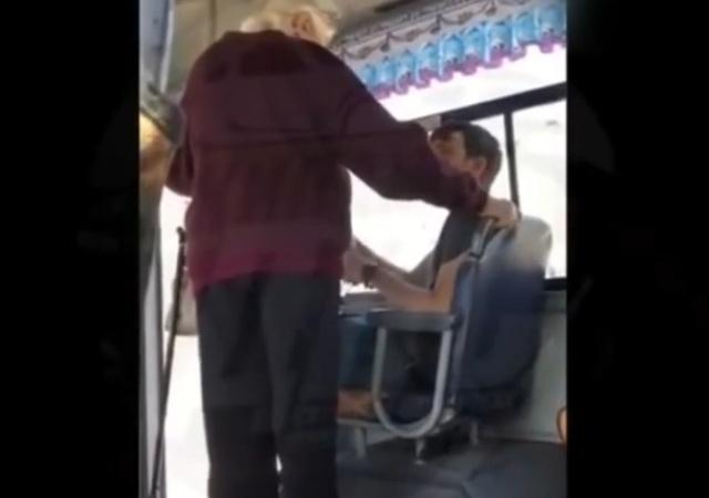Агрессивная бабуля и место в общественном транспорте