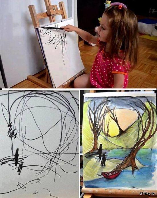 Удивительные картины на основе детских каракуль