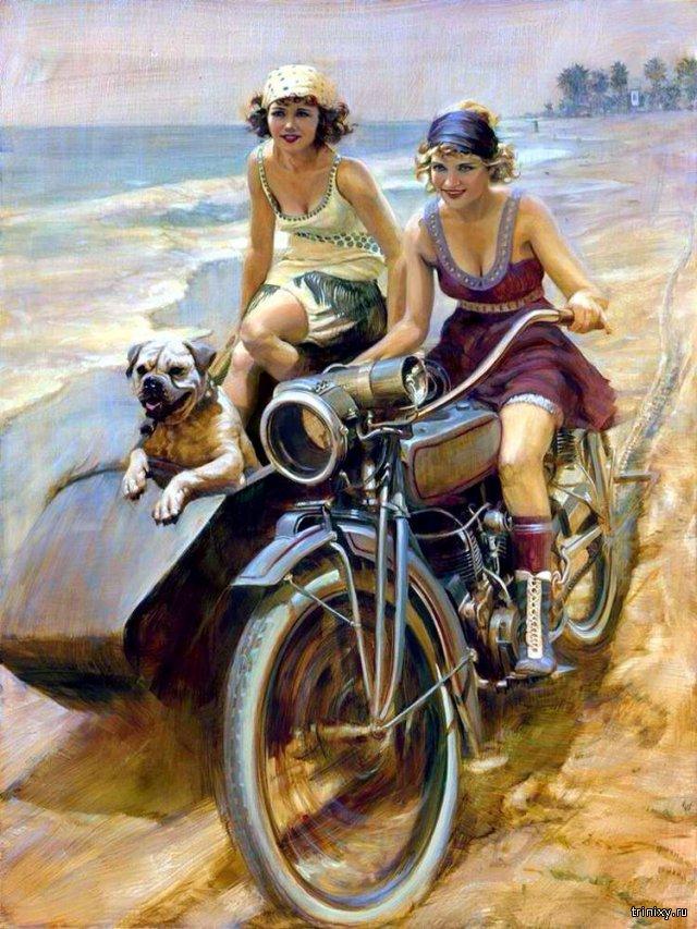 Девушки и мотоциклы. Pin-up Girls Moto