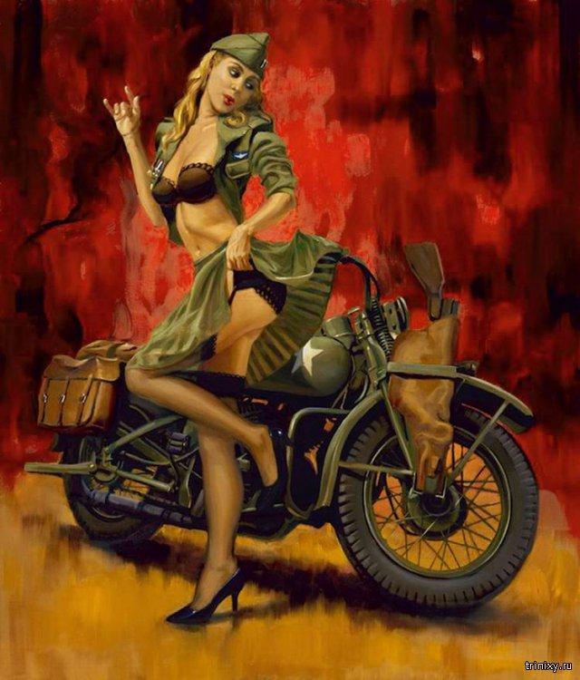 Девушки и мотоциклы. Pin-up Girls Moto. Часть 2