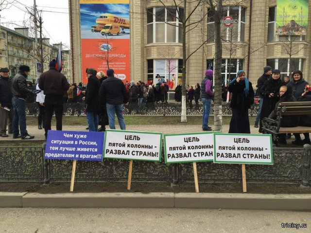 Лозунги с митинга в поддержку Путина и Кадырова в Грозном
