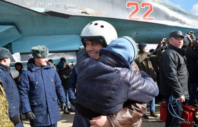 Российские летчики вернулись домой из Сирии