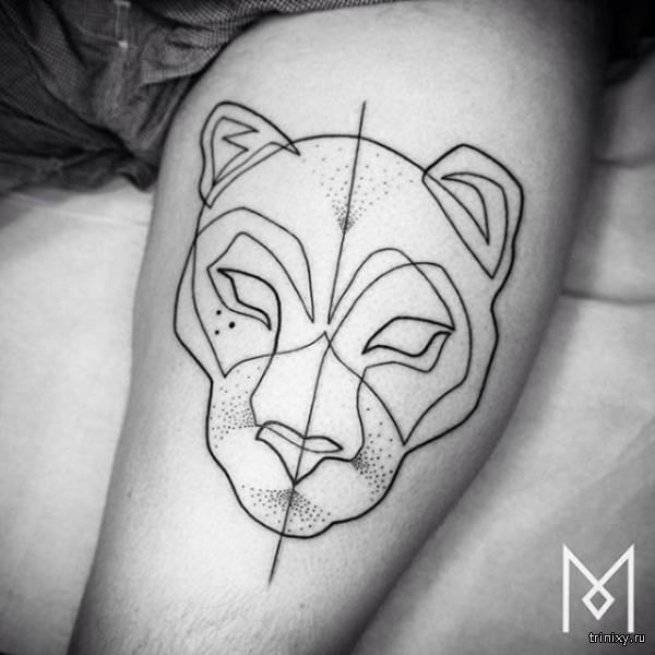 Татуировки, нанесенные непрерывной линией