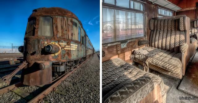 Заброшенный Восточный экспресс, напоминающий о роскошных путешествиях прошлого.