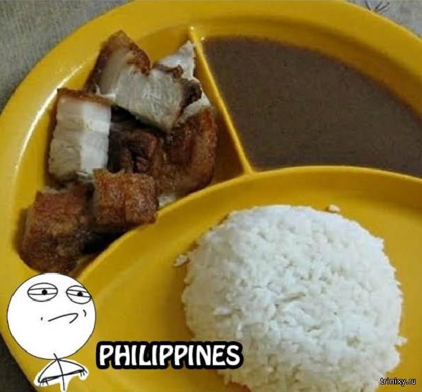 Как выглядит еда на борту и в школах в разных странах мира
