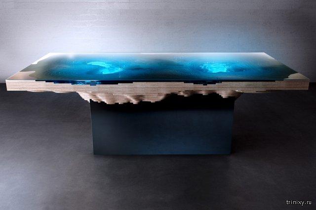 Многослойные дизайнерские столы с морской топографией