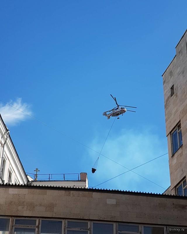 Пожар в историческом центре Москвы