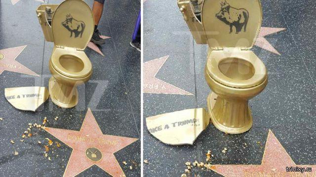 Золотой унитаз на голливудской звезде Трампа на Аллее славы