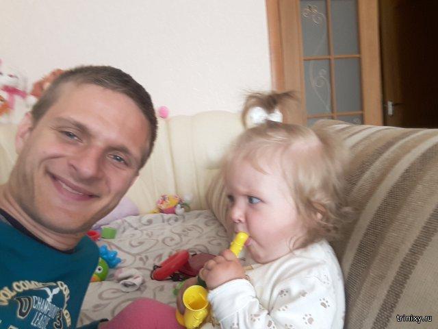 Доча учит папу дудеть!