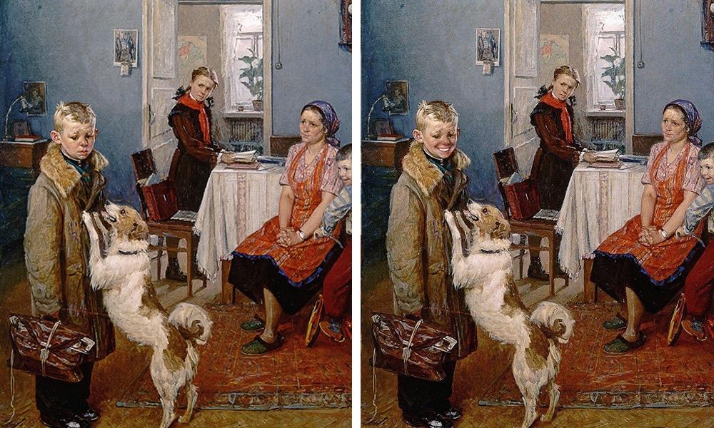 Как бы выглядели картины русских художников, если бы их персонажи вдруг заулыбались?
