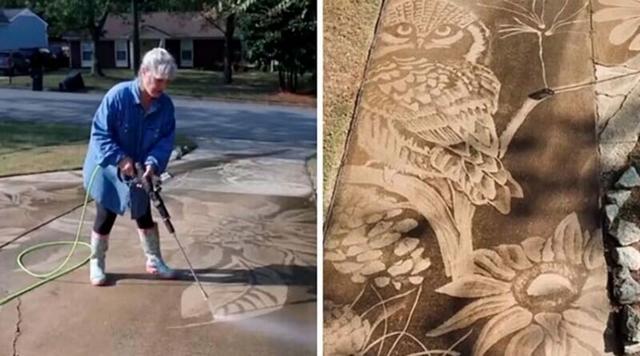 Американка рисует на асфальте с помощью поливальной машины