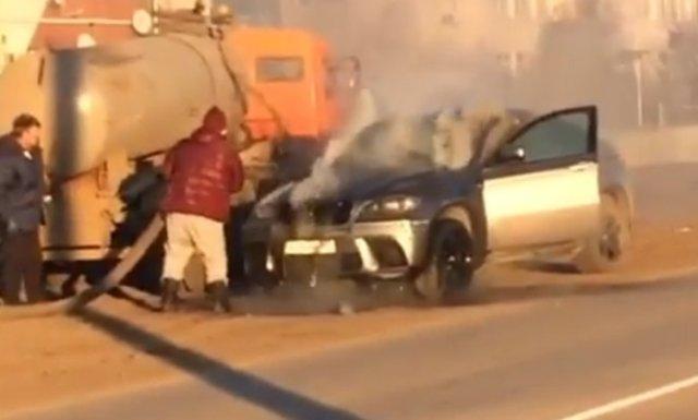Хозяин потушенной из ассенизатора BMW сжег свой автомобиль