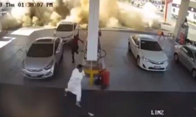 Взрыв подземного резервуара с топливом