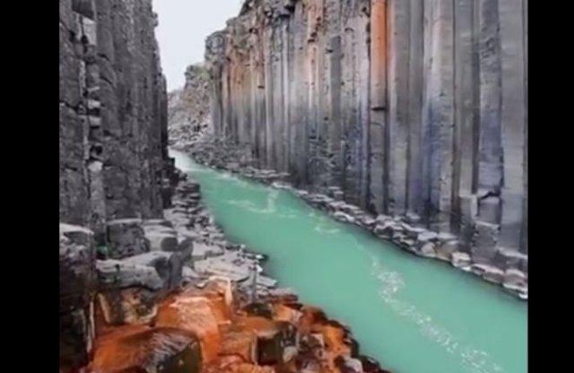 Как выглядит базальтовый каньон в Исландии