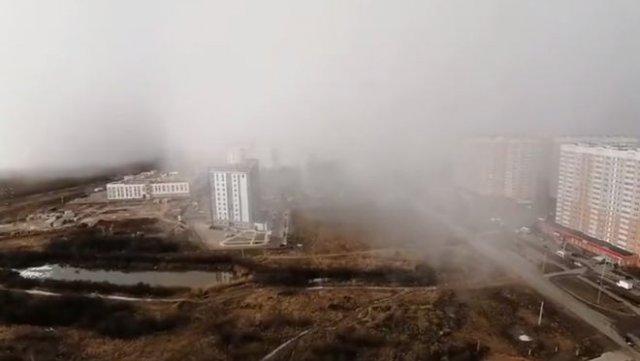 Впечатляющее начало снегопада в Твери