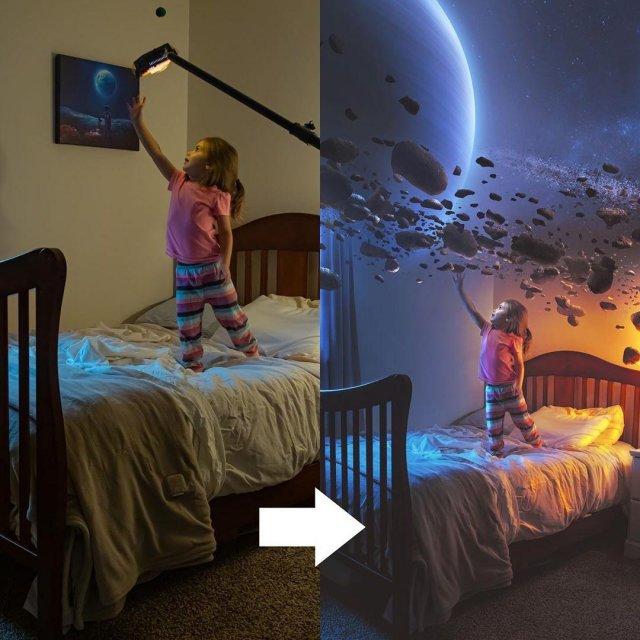 Отец-фотограф Кевин Карден поэтапно показал, как превратить снимок в настоящую сказку