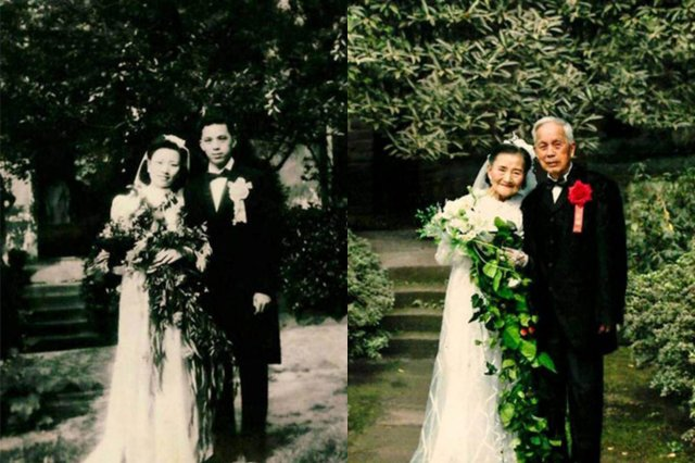 Китайская пара на свадьбе
