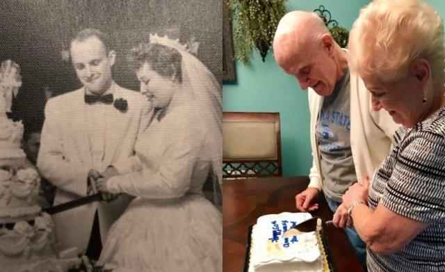 Пара на свадьбе разрезает торт