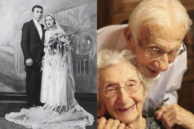 Пара на свадьбе и в пожилом возрасте