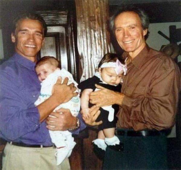 Арнольд Шварценеггер и Клинт Иствуд с детьми