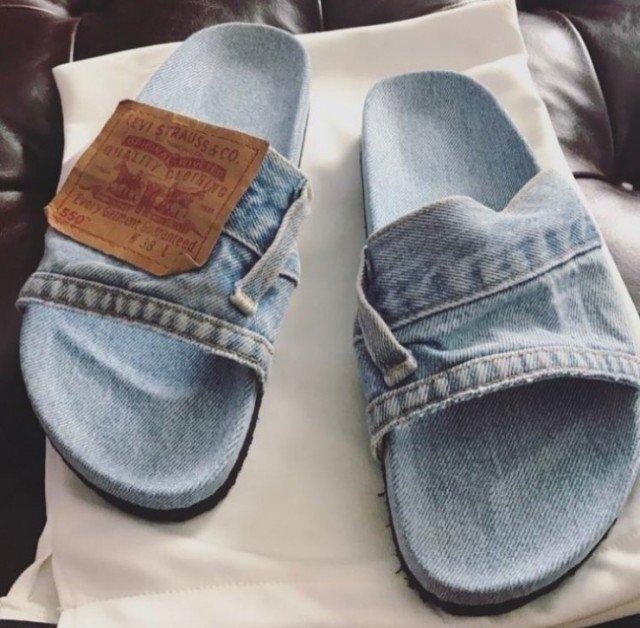 Тапки из старых джинс