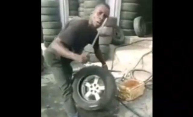Пожалуй, самый быстрый шиномонтажник