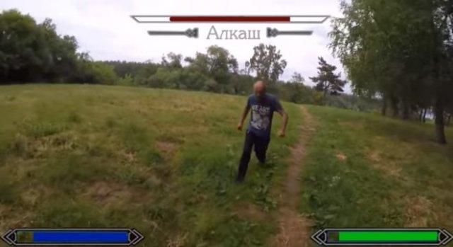 Битва с алкашом в стиле игры The Elder Scrolls