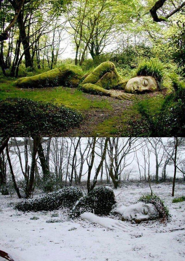 Половина скульптуры в парке Хелиган