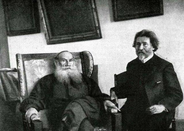 Лев Толстой и Илья Репин в Ясной Поляне, 1907 год