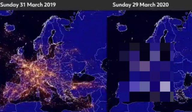 Количество самолетов на Европой в год назад и сейчас