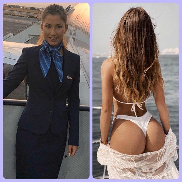 Красивые стюардессы в форме и без нее