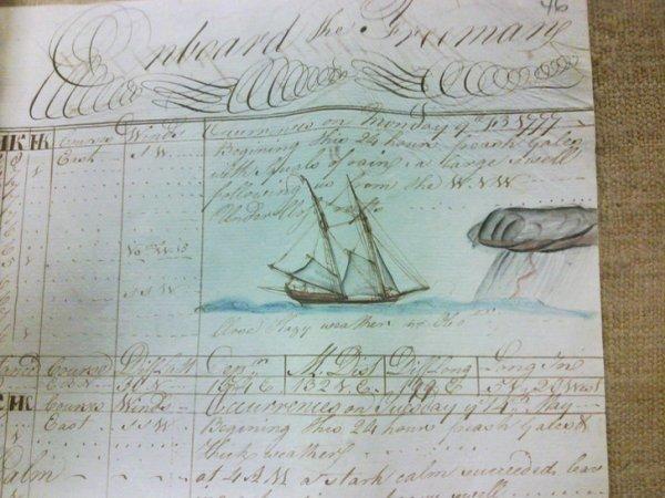 Страница из иллюстрированного капитанского журнала 1777 года