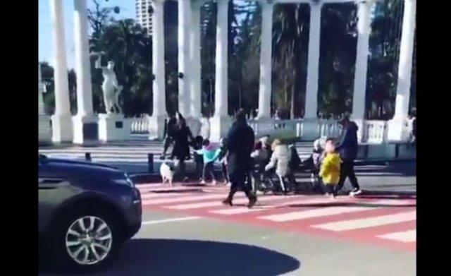 """Собака помогает детям переходить дорогу и """"ругается"""" на водителей, которые их не пропускают"""