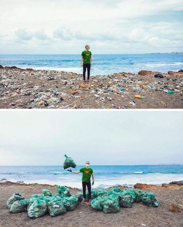 До и после генеральной уборки пляжа