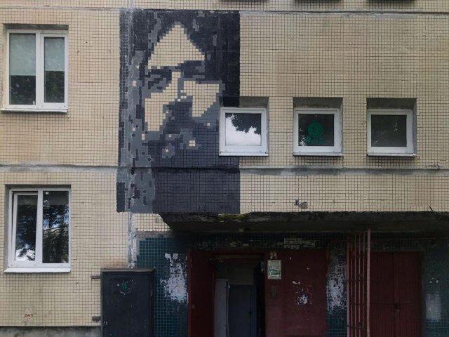 В поселке Елизаветино Андрей Гвоздь изобразил знаменитостей на пятиэтажках