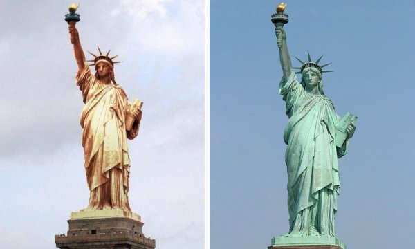 Статуя свободы, Нью-Йорк: после установки и сейчас