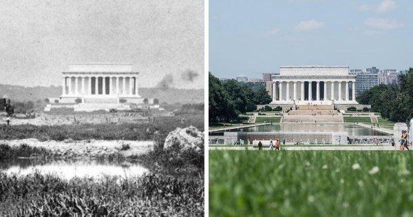 Мемориал Линкольну, Вашингтон: в начале ХХ века и сейчас