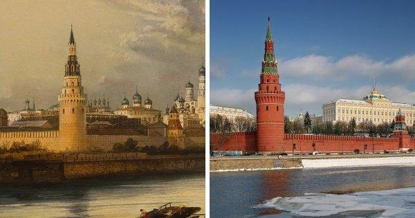 Московский Кремль, 1842 год и сейчас