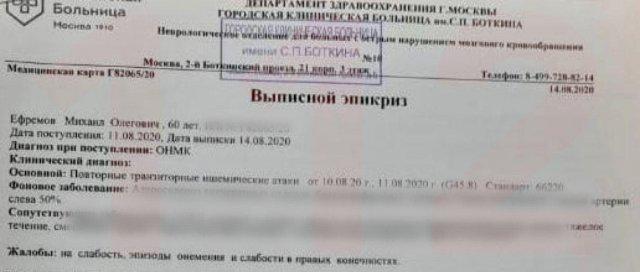 Адвокат Михаила Ефремова врал про инсульт – доказательства