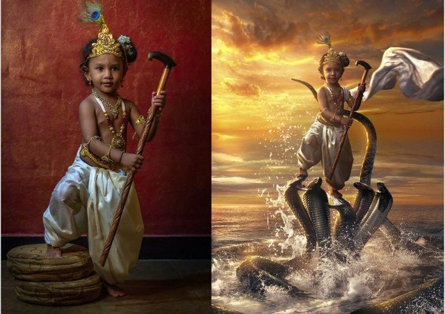 Каран Ачария - художник, превращающий героев на фото в божество из индийской религии
