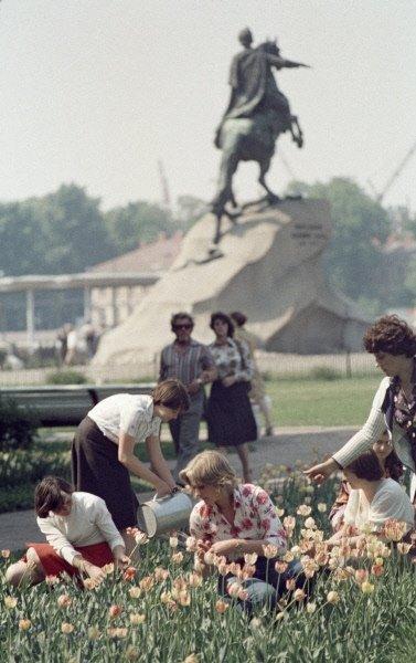 Ленинград. Будущие садоводы и цветоводы на практике1979 г.