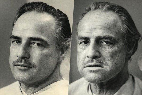 """Марлон Брандо до и после грима на съемках фильма """"Крестный отец"""". Гример Дик Смит, 1972 г."""