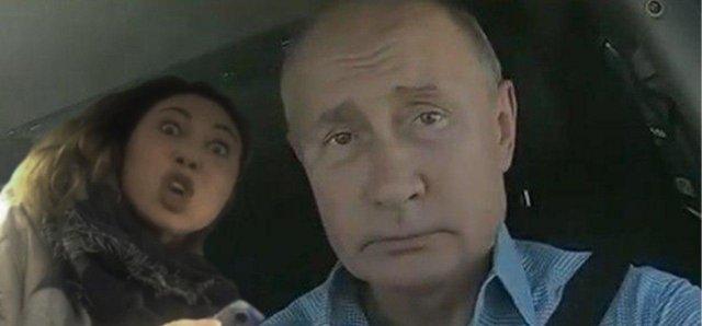"""Владимир Путин на трассе """"Таврида"""" с героиней мема """"Вези меня, мразь"""""""
