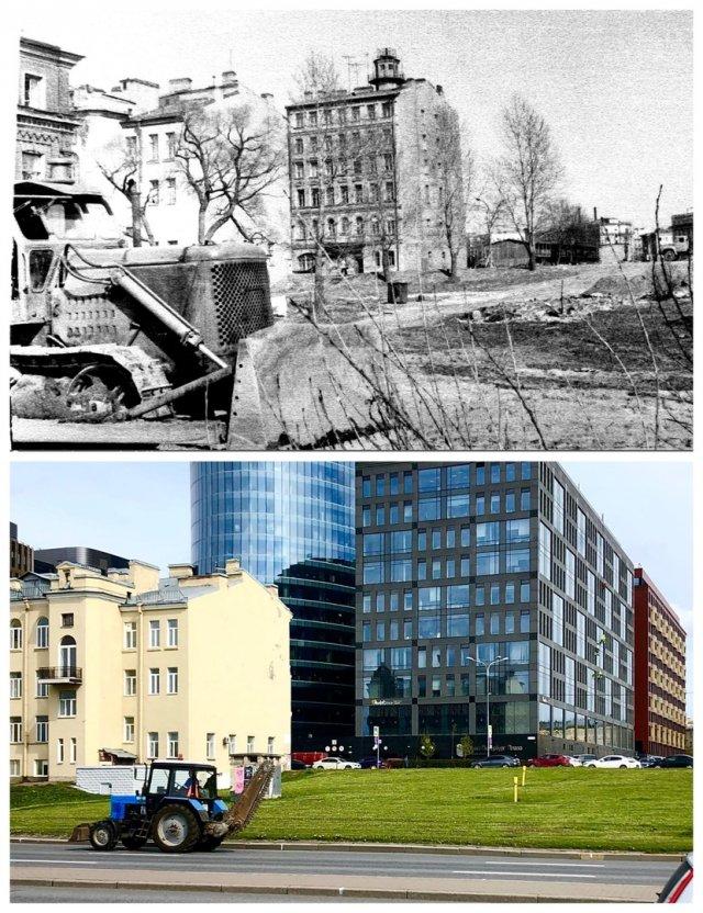 Вид с Малоохтинской набережной.~1975 и 2020 год.