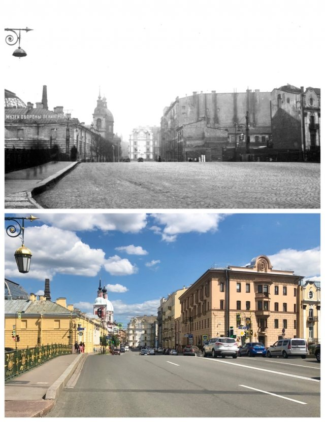 Мост Пестеля/Пантелеймоновский мост.1950 и 2020 год.