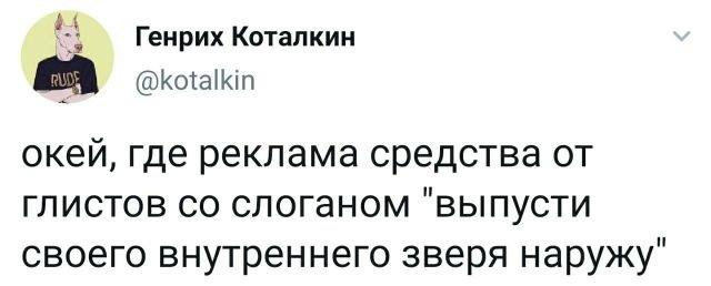 Твит про глистов