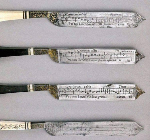 Набор ножей XVI века с выгравированными нотами