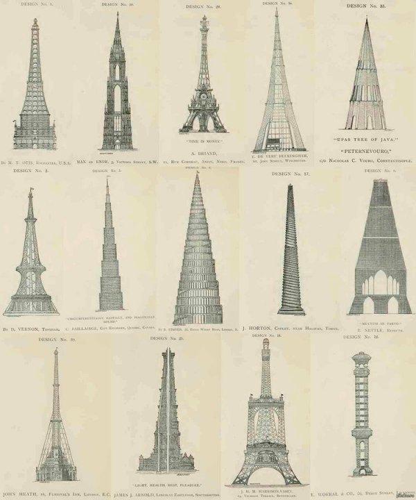 Непринятые эскизы дизайна Эйфелевой башни